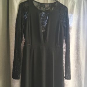 Long sleeve Maxi dress with lace cut outs - EUC!